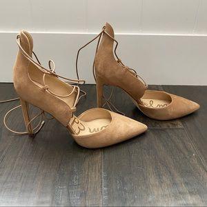Sam Edelman tan ankle wrap heels